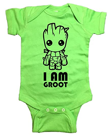 3e9f37863 Amazon.com: Guardians Of The Galaxy Baby One Piece I am Groot Bodysuit:  Clothing