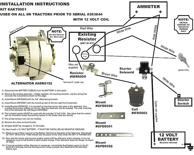 amazon com: db electrical akt0001 for ford 8n 2n 9n tractor alternator for  generator conversion kit 1939-1951 8ne10300alt-c: garden & outdoor