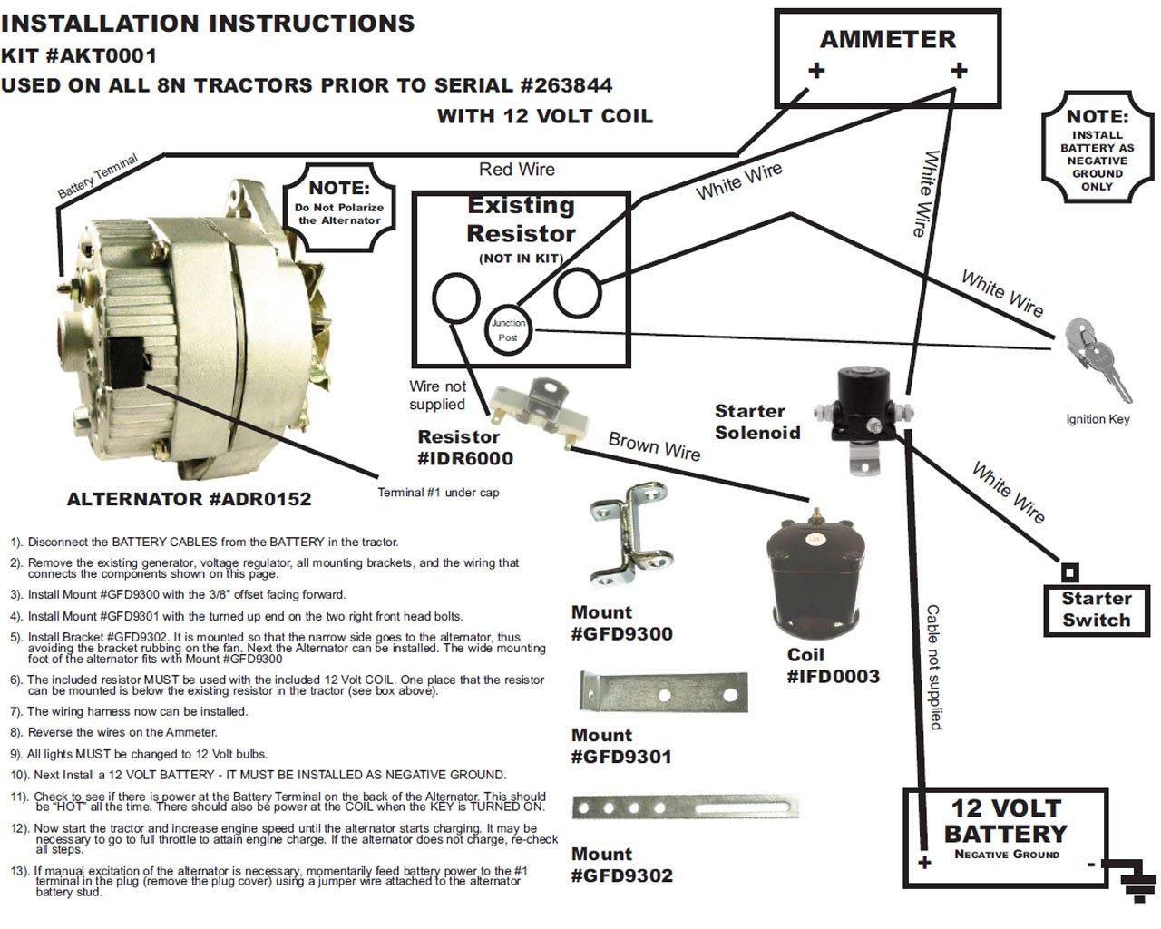 Db Electrical Akt0001 Ford 8N 2N 9N Tractor Alternator For Generator Conversion Kit 1939-1951  8NE10300ALT-C