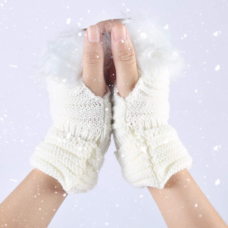 TININNA Inverno Caldo Faux Pelliccia di Coniglio Lavorato a Maglia Knit Guanti Senza Dita per Le Donne Ragazze Khaki