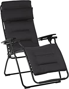 Lafuma Futura Air Comfort Zero Gravity Recliner (Acier Black) Padded Folding Outdoor Reclining Chair