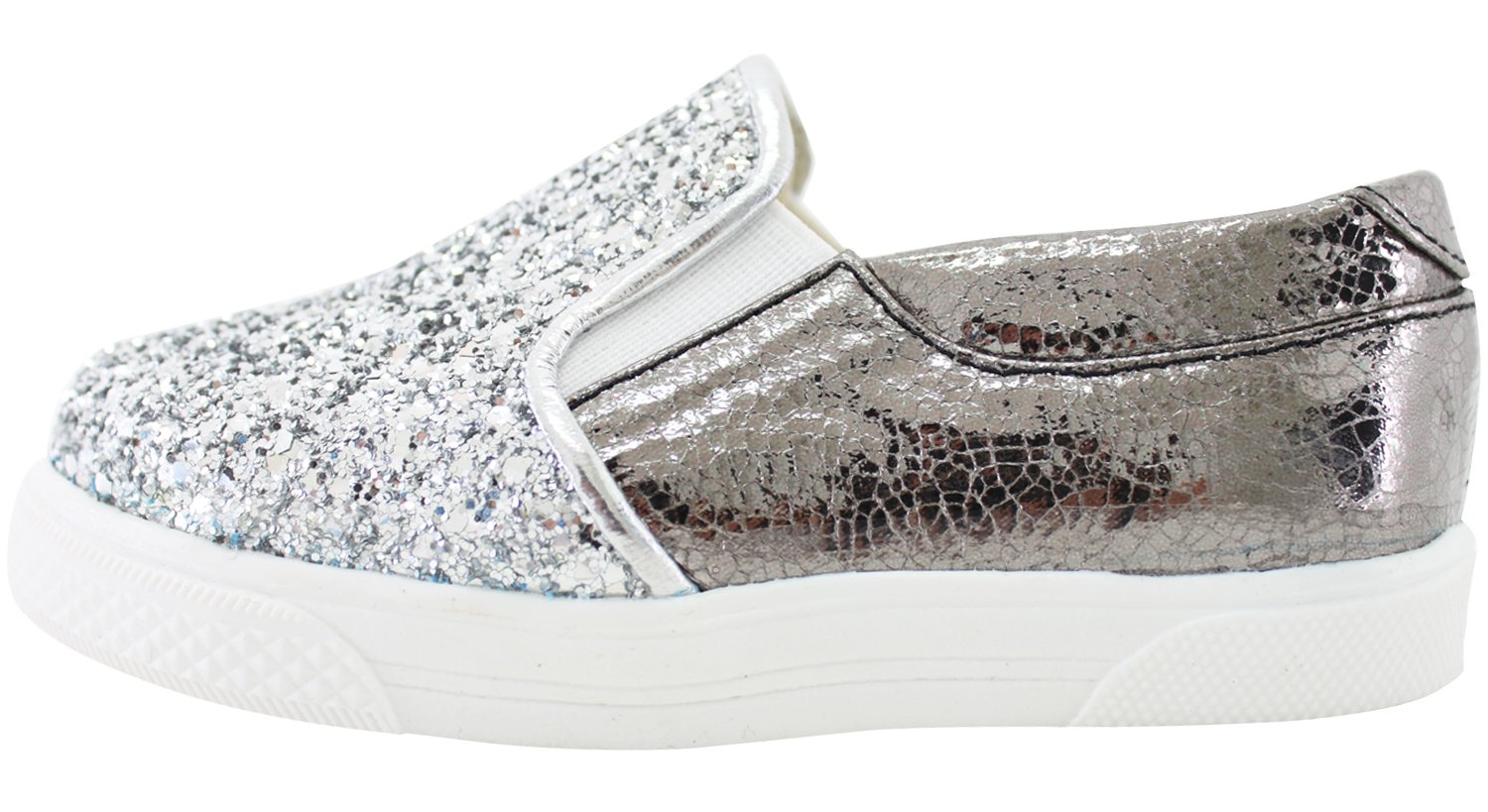 Milky Walk Boys Girls Glitter Slip On Shoes (7 M US Toddler, Silver) by Milky Walk (Image #3)