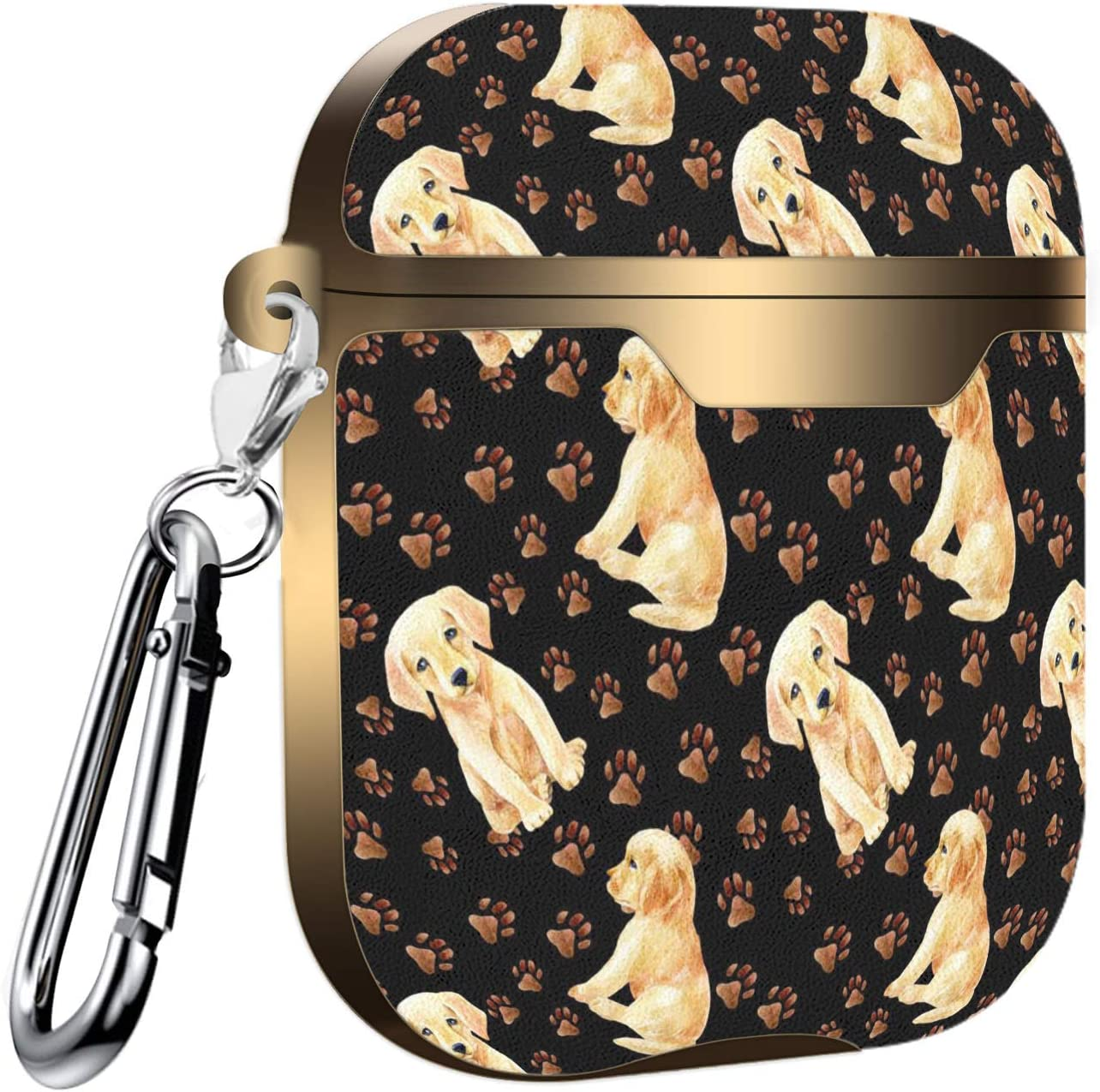 Labrador Puppy and Paw Pattern Slim Form Fitted Printing Pattern Cover Case with Carabiner Compatible with Airpods 1 and AirPods 2