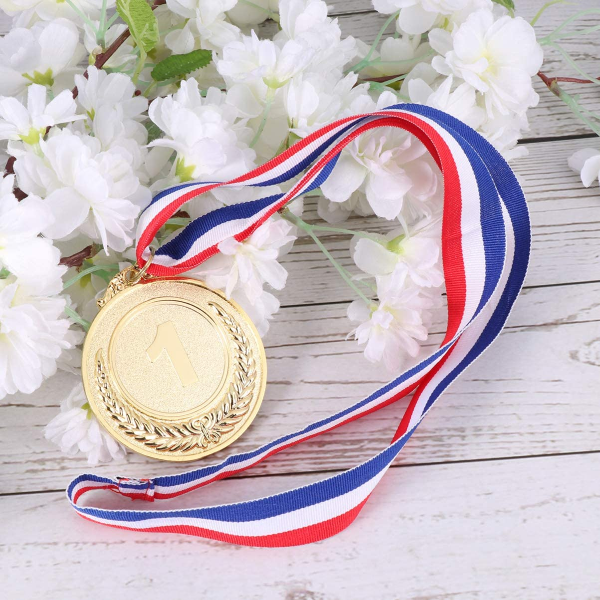 Gold LIOOBO 4 Pcs Award Medals with Ribbons Gold Silver Bronze Prizes First Second Third Winner Wheat Medals for Sports for Academics Sports Competition