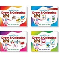 Drawing Practise Collections Set of 4 Books : Draw & Color Step by Step Drawing Practice Activity Book Set of 4 for Kids