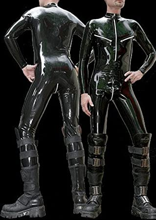 190fecb1b5 Men s Black Latex Neck Entry Catsuit with Shoulder and Crotch Zipper   Amazon.co.uk  Office Products