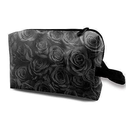 Bolsa de cosméticos para mujeres, rosas negras aisladas ...