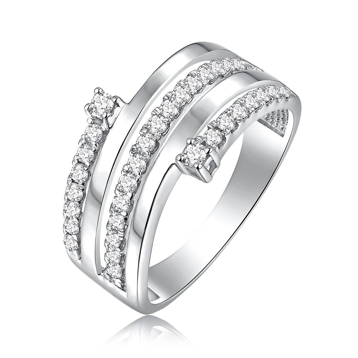 0.44 Carat Diamond 925 Sterling Silver Multi Row Promise Ring Size 7 (G-H Color, SI2-SI3 Clarity)