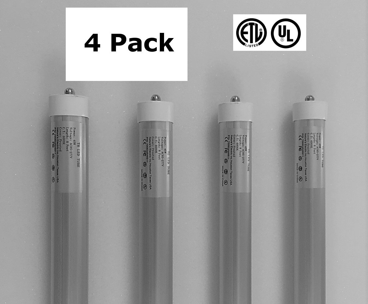 4 Pack of 8 Foot, LED Replacement Bulbs for Fluorescent Fixtures - neiLite  Brand - - Amazon.com