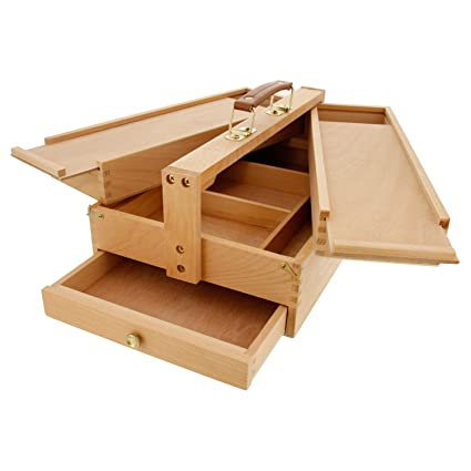 US Art Supply Large Multi Function Wooden Artist Tool U0026 Brush Storage Box