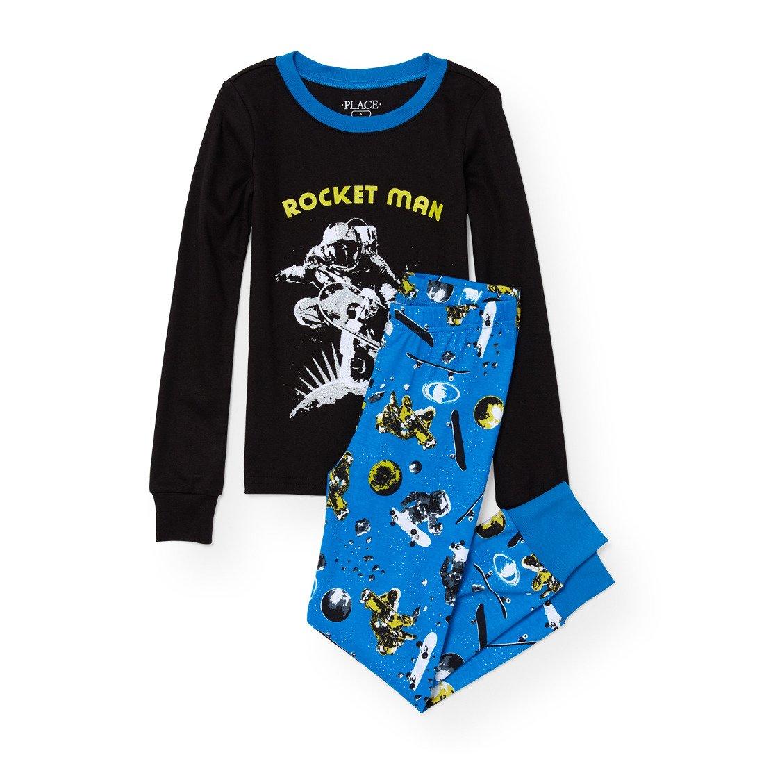 The Children's Place Big Boys' Rocketman 2 Piece Cotton Pajamas, Black 90466, 8