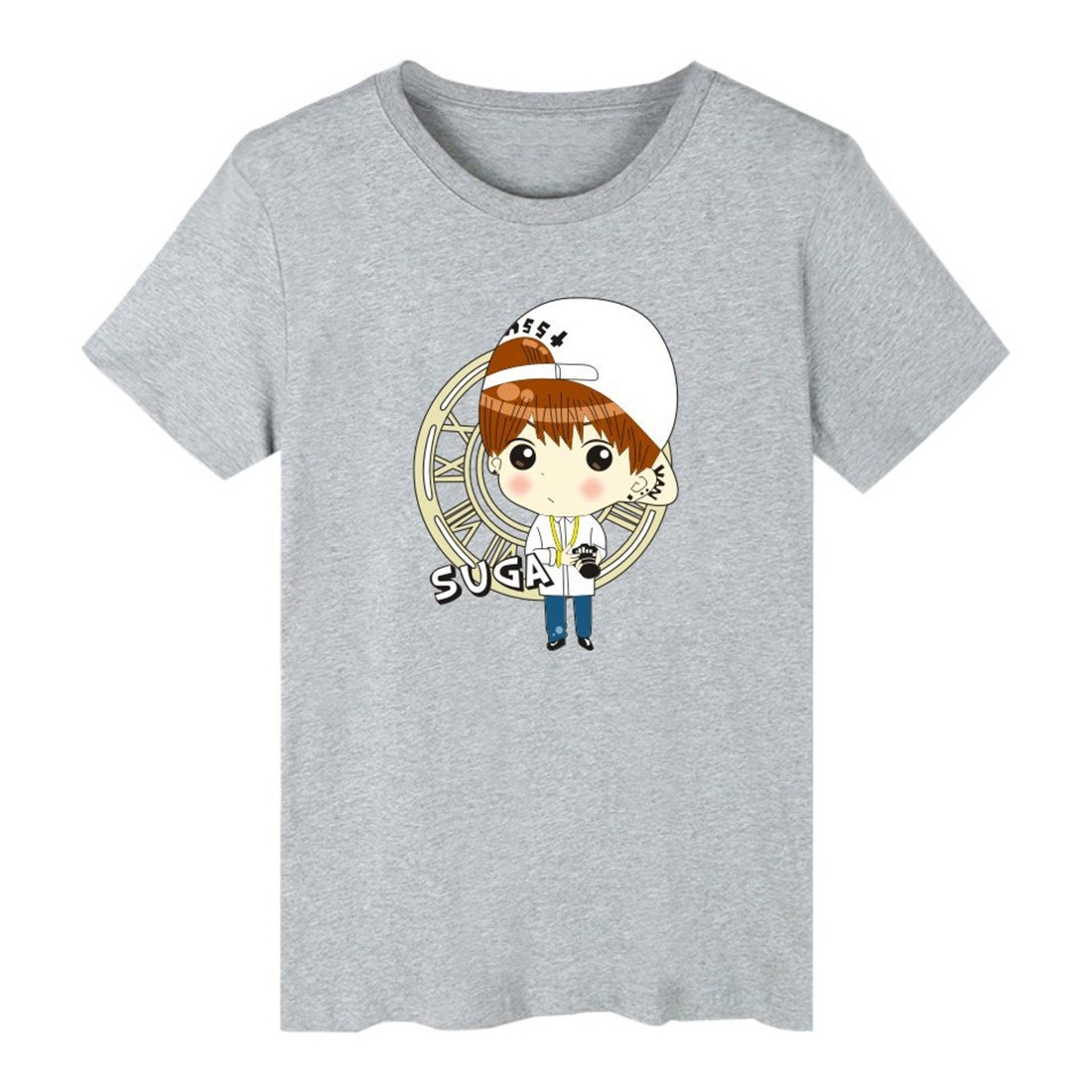 ATIWING BTS Jimin V Cartoon Q-Version Short Sleeve Tee Shirt for Men,Women