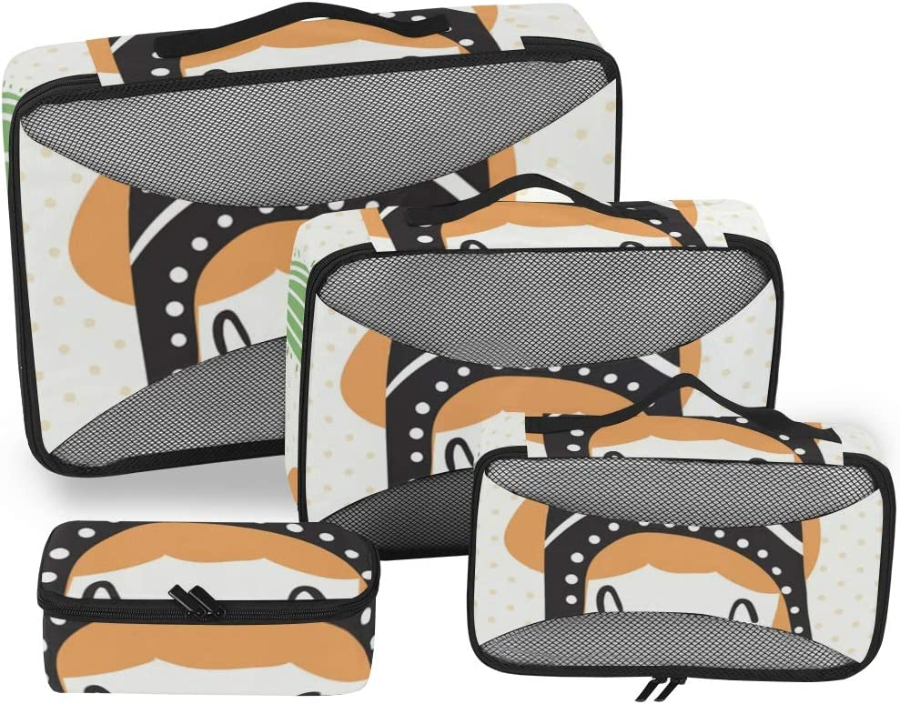 4 Set Packing Cubes Travel Luggage Packing Organizers Llama In Sombrero
