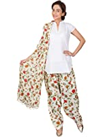 Womens Cottage Women's Floral Printed Cotton Semi Patiala Salwar & Matching Cotton Dupatta With Beads
