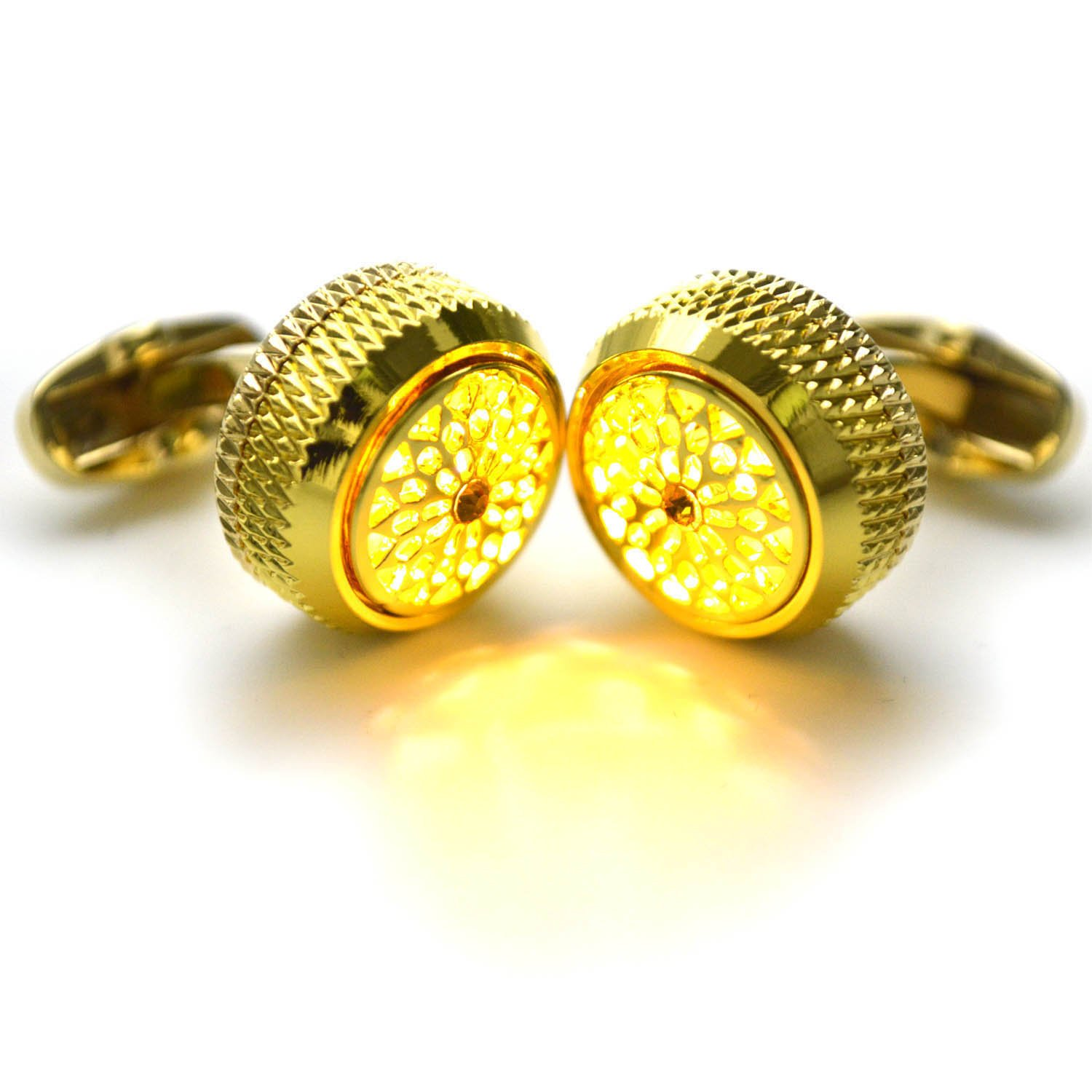 WSHYKJ Men's Cufflinks LED Cufflinks Cufflinks Glowing Cufflinks Night Flashing Gemstone Light Cufflinks Stylish Cufflinks Tuxedo Shirts Business Weddings Groomsmen's Day Party (Yellow)