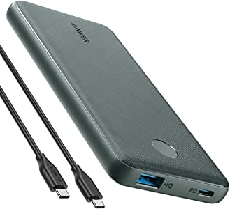 Anker PowerCore Slim 10000 PD Green, 10000mAh Portable Charger USB-C Power Delivery (18W) Power Bank Fast Charge for iPhone 11/11 Pro / 11 Pro Max, S10, Pixel 3, iPad Pro 2018, and More