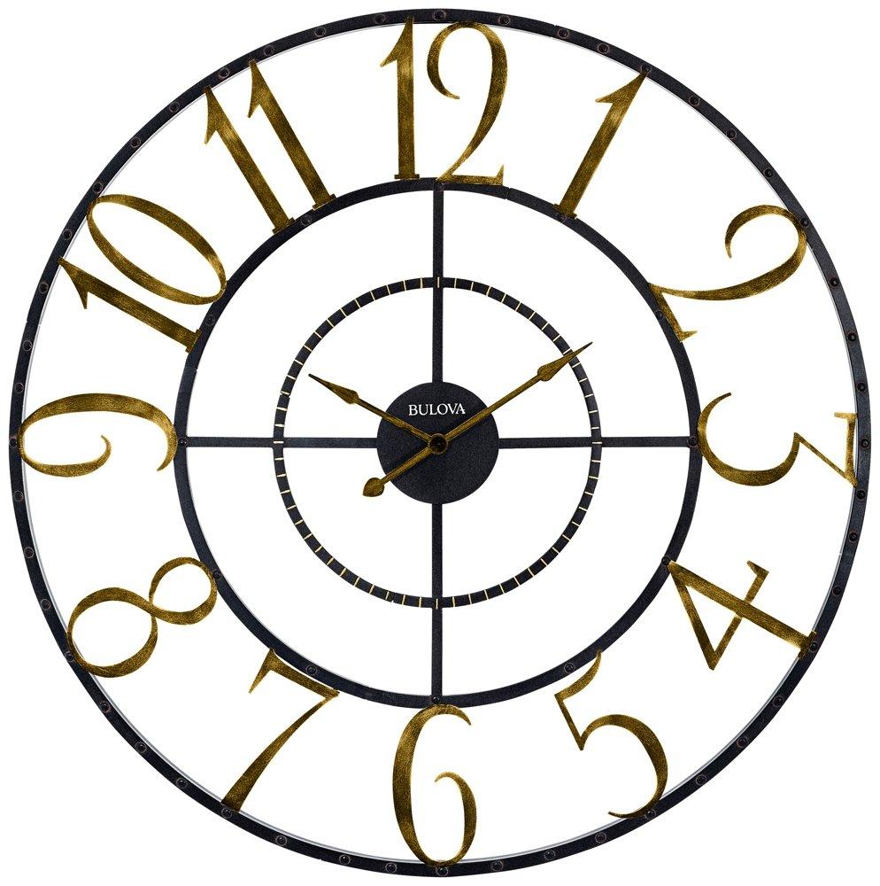 Amazon Bulova Colossus Wall Clock Gold Home Kitchen