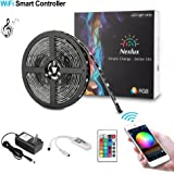 Nexlux Led light strip, Wifi Wireless Smart Phone Controlled Strip Light Kit 16.4ft 150leds 5050 Waterproof IP65 LED Lights ,Working with Android and IOS System,Alexa