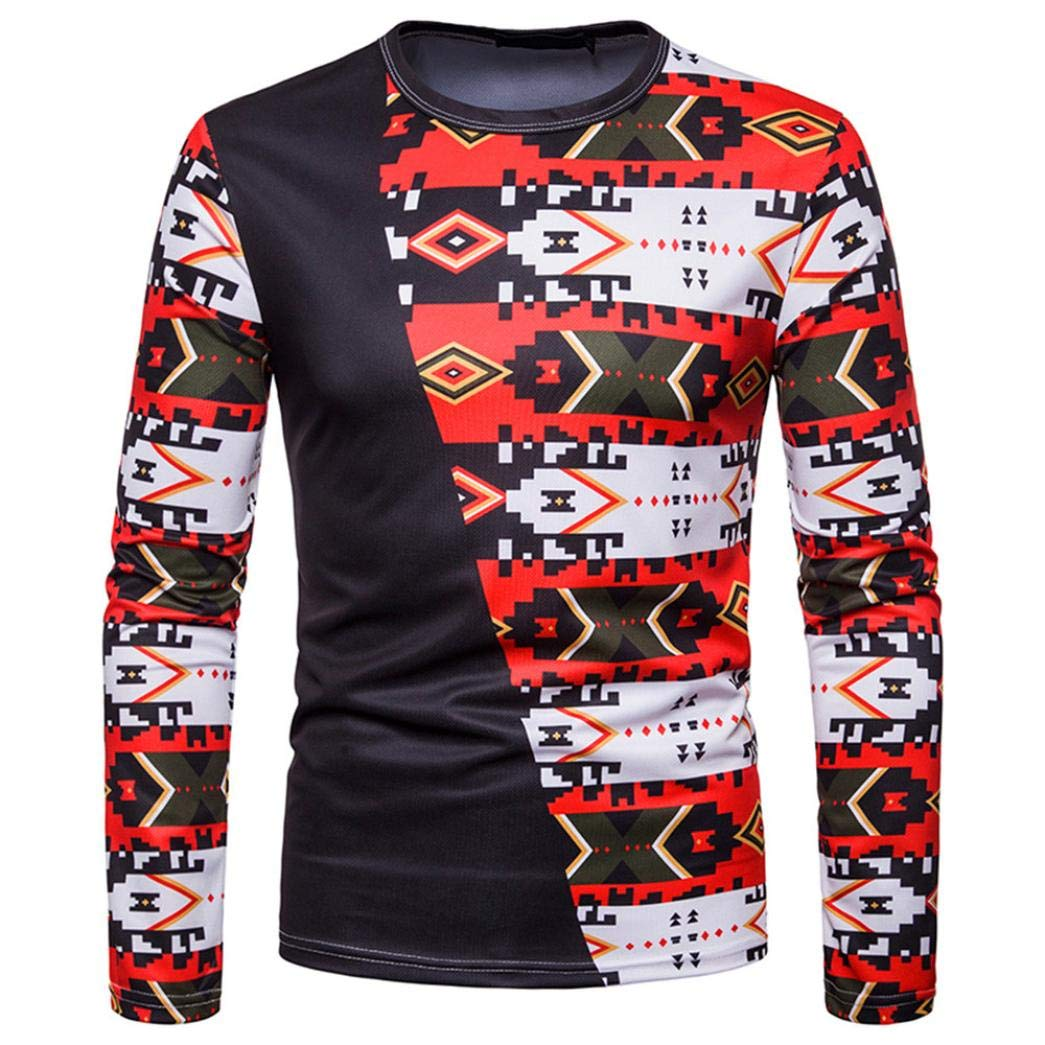 kaifongfu Men Pullover Top,Men Blouse with African Indian Style Crew Neck Long Sleeve Shirt BlackL