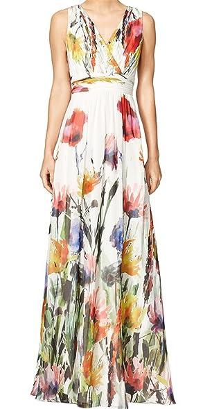 Sexy Deep V-Neck Sleeveless Empire Waist Long Maxi Beach Dress Sundress White M