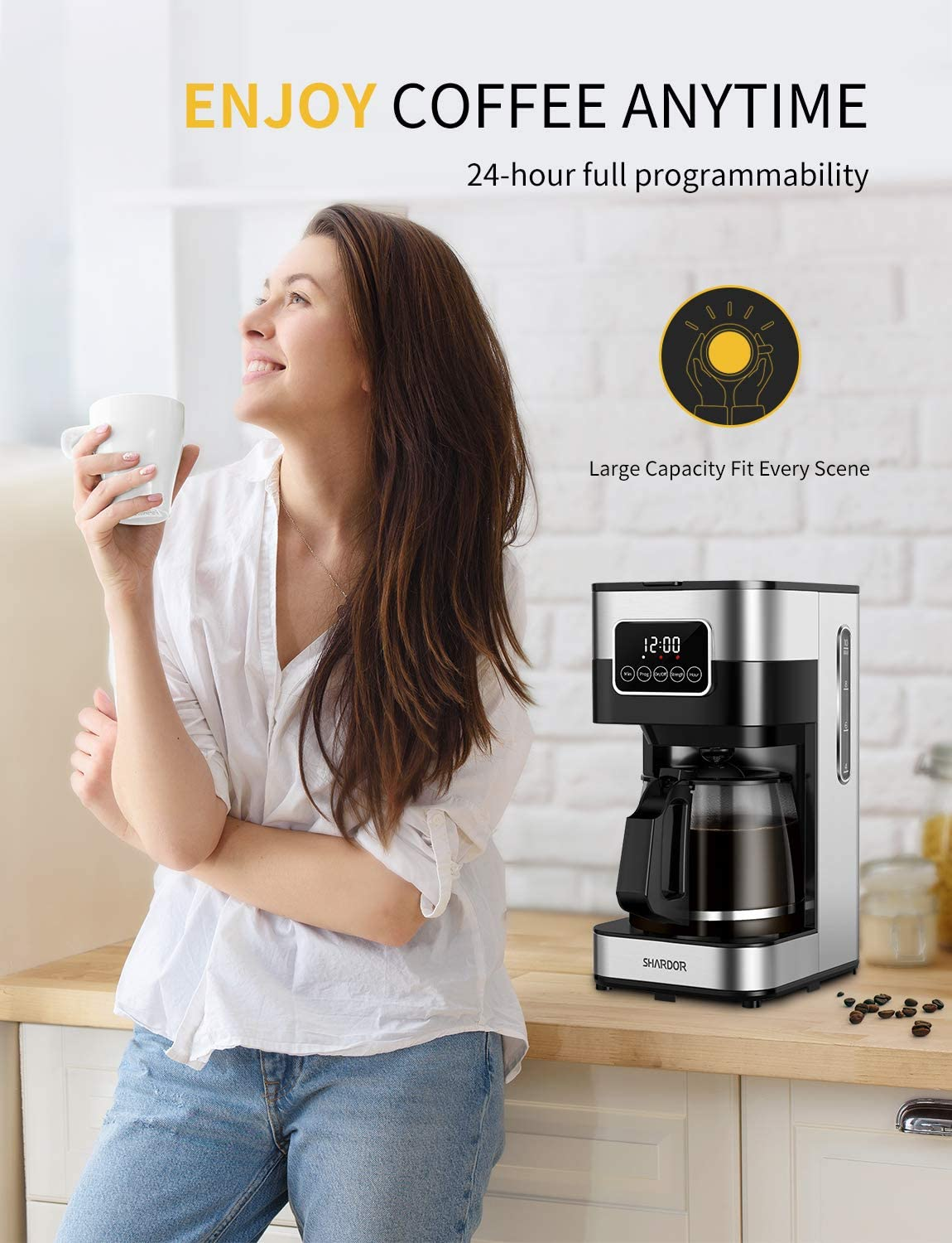 SHARDOR Coffee Maker, Touch-Screen 10-cup Programmable with glass carafe, Stainless Steel
