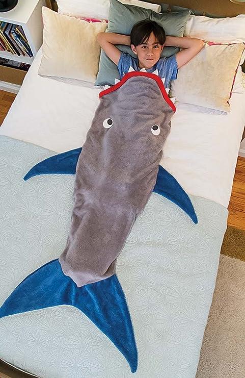 Saco de dormir para niños tiburón sirena Saco de bebé cálido de lana de doble capas