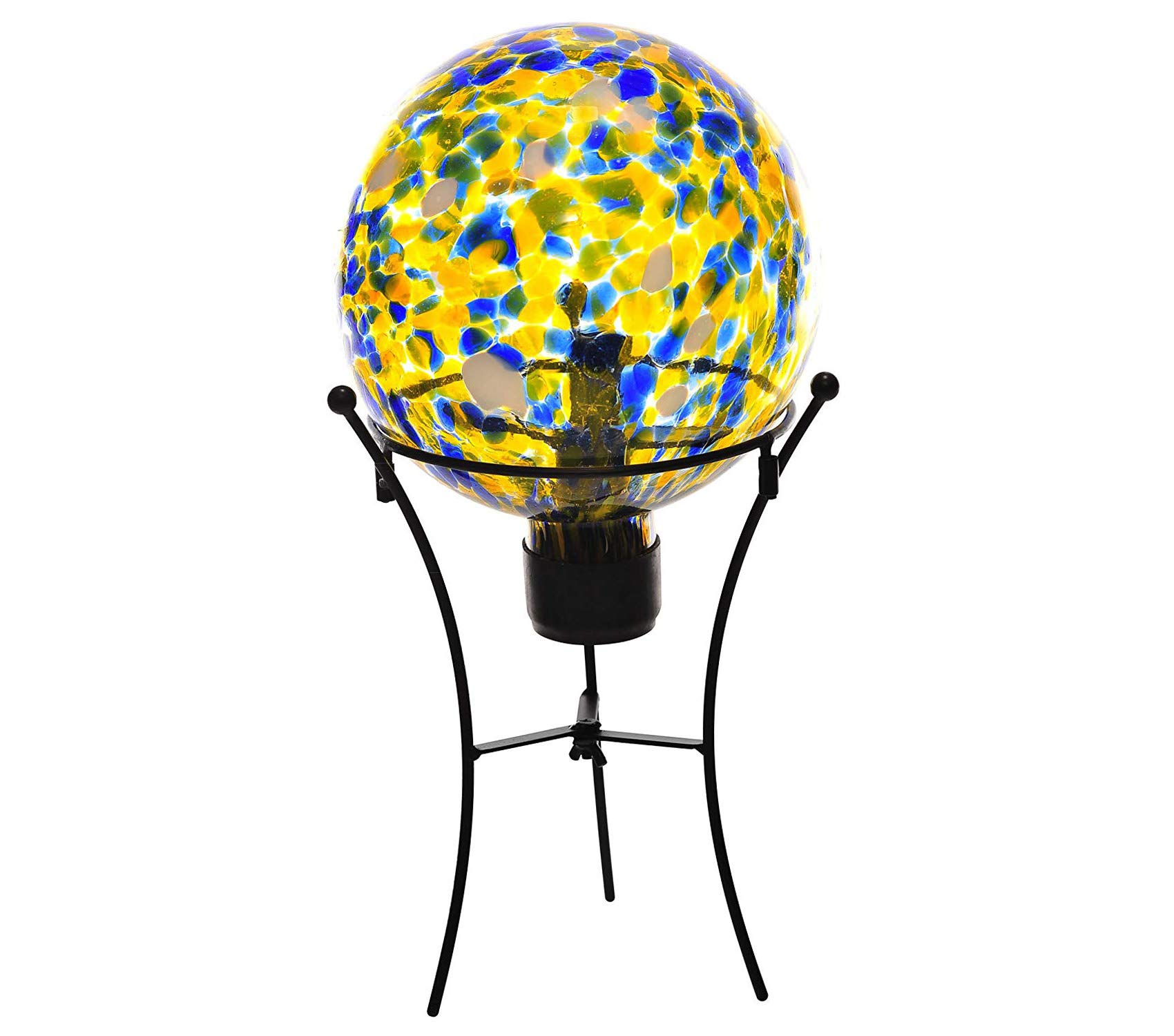 Outdoor Garden Backyard Décor Yellow Glass Solar Gazing Ball LED Insert and Wire St, 8 Inch