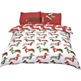 Christmas Dachshunds Sausage Dogs Hats Jumpers Red (230CM X 220cm - UK King Size) Duvet Comforter Cover