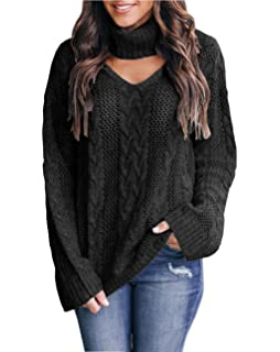 Womens Choker Sweater Plus Size Sexy V Neck Turtleneck Cable Knit