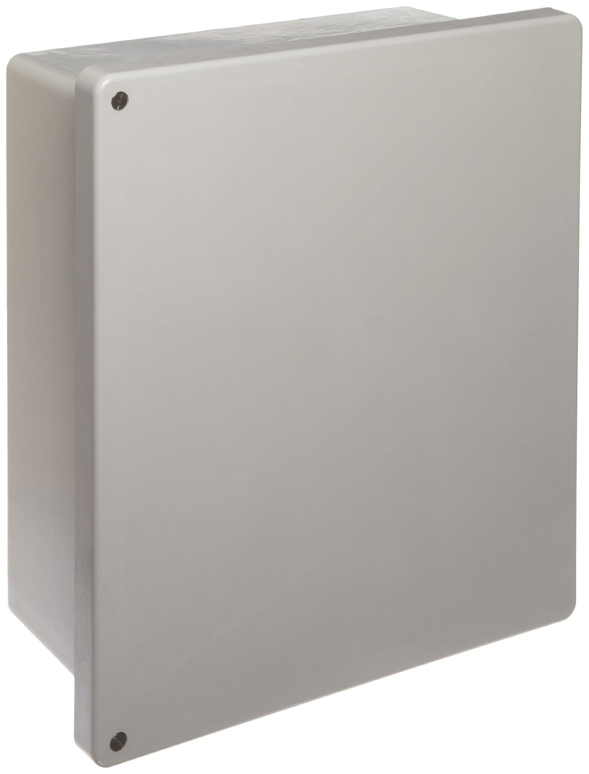 BUD Industries NF-6614 Fiberglass NEMA Box with Screwed Cover, 13-57/64'' Width x 15-49/64'' Height x 6-51/64'' Depth, Light Gray Finish