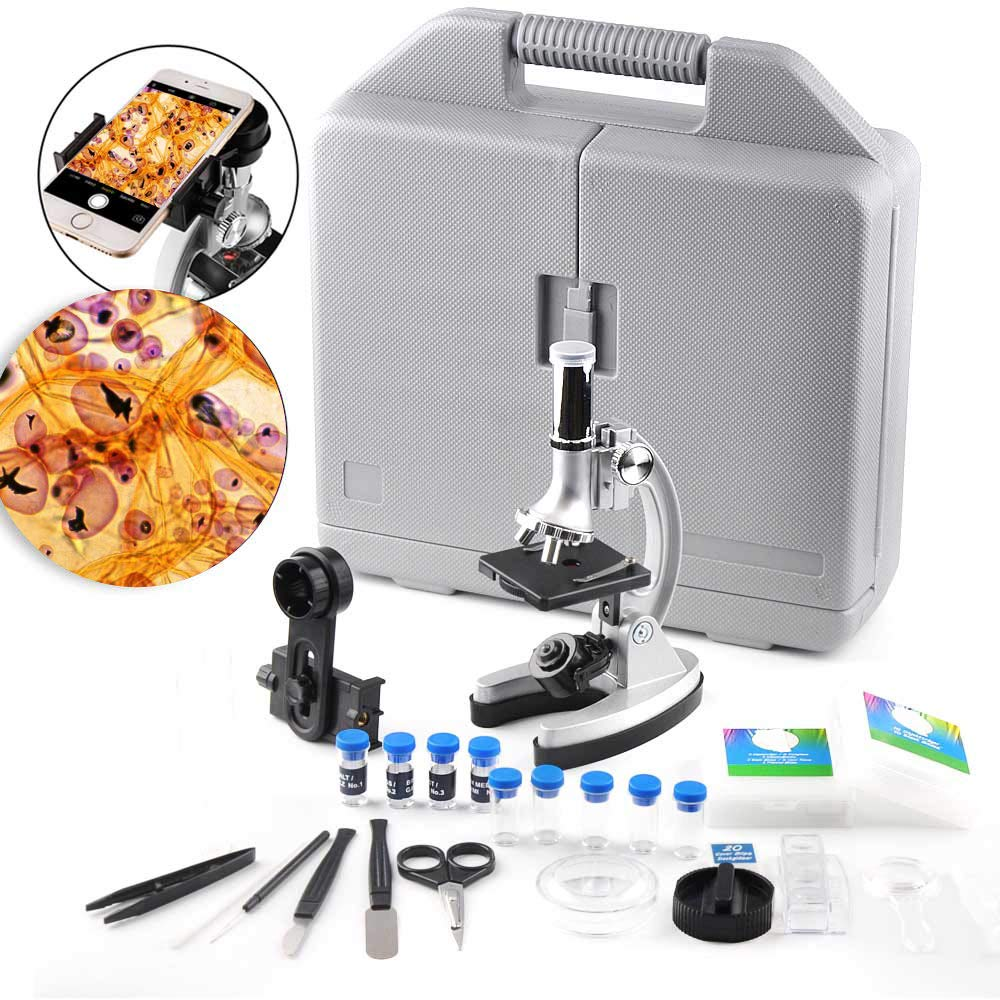 DoubleSun Microscope for Kids and Beginners-300x 600x 1200x Magnification Student Compound Monocular Microscope with Metal Arm and Base -All The Accessories Include in a Handy Storage Case