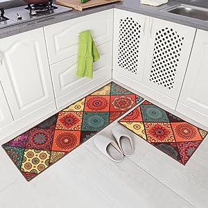 "Carvapet 2 Piece Non-Slip Kitchen Mat Runner Rug Set Doormat Vintage Design Boho Style,Square (15""x47""+15""x23"")"