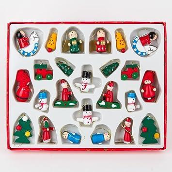 Gisela Graham : Wooden Coloured Mini Christmas Decorations (box of ...