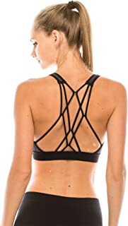 product image for Kurve Women's Workout Sports Bra – Strappy Sexy Top with Light Support, UV Protective Fabric UPF 50+ (Made in USA)