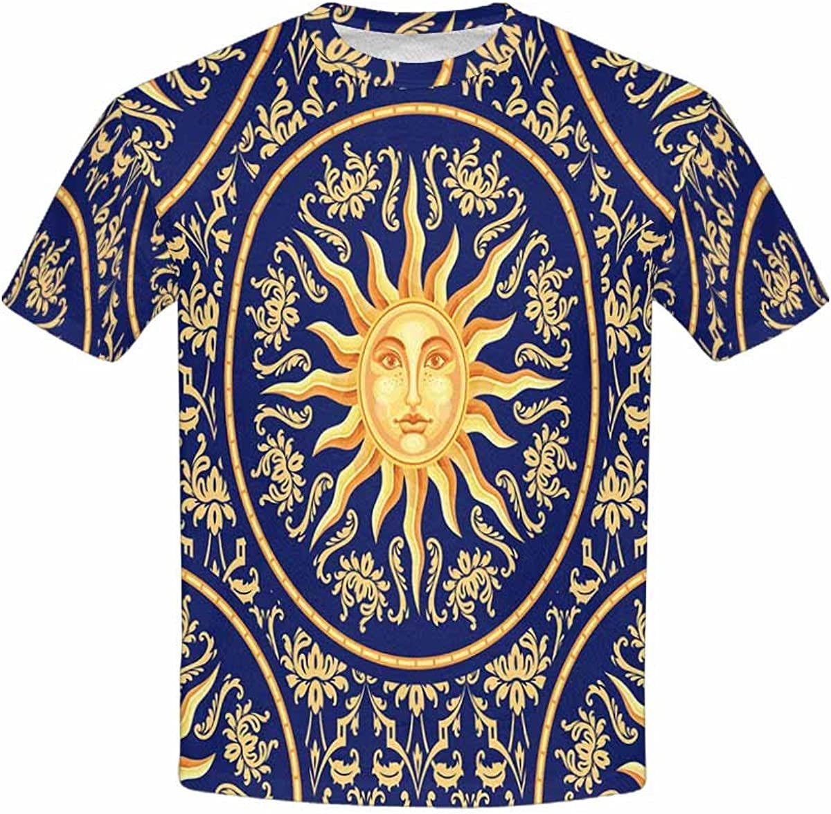INTERESTPRINT Childs T-Shirt Blue and Gold Pattern with Sun Face XS-XL