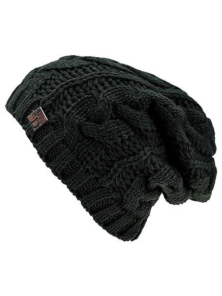 c11e8e4f44563 Luxury Divas Black Cable Knit Unisex Slouchy Beanie Cap Hat at ...