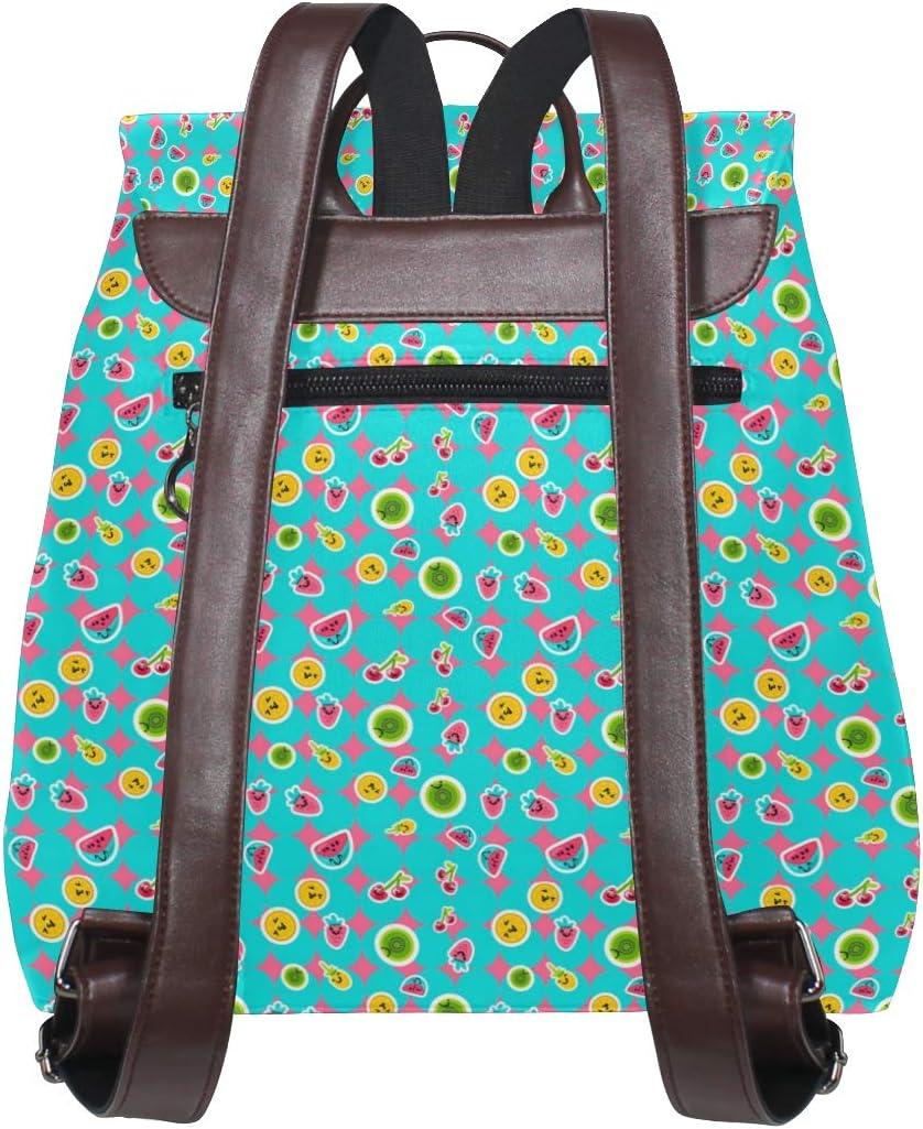 Leather Summer Fruits Patterns Backpack Daypack Bag Women