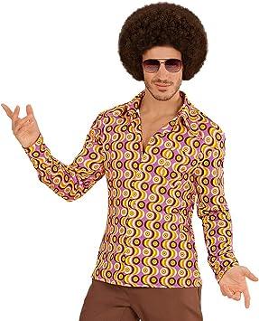 Estilizada camisa retro años 70 para caballero - Rosa-amarillo S/M (ES 48/50) - Extravagante outfit para hombre movimiento groovy camisa manga larga vintage - El punto alto para festival y carnaval: Amazon.es:
