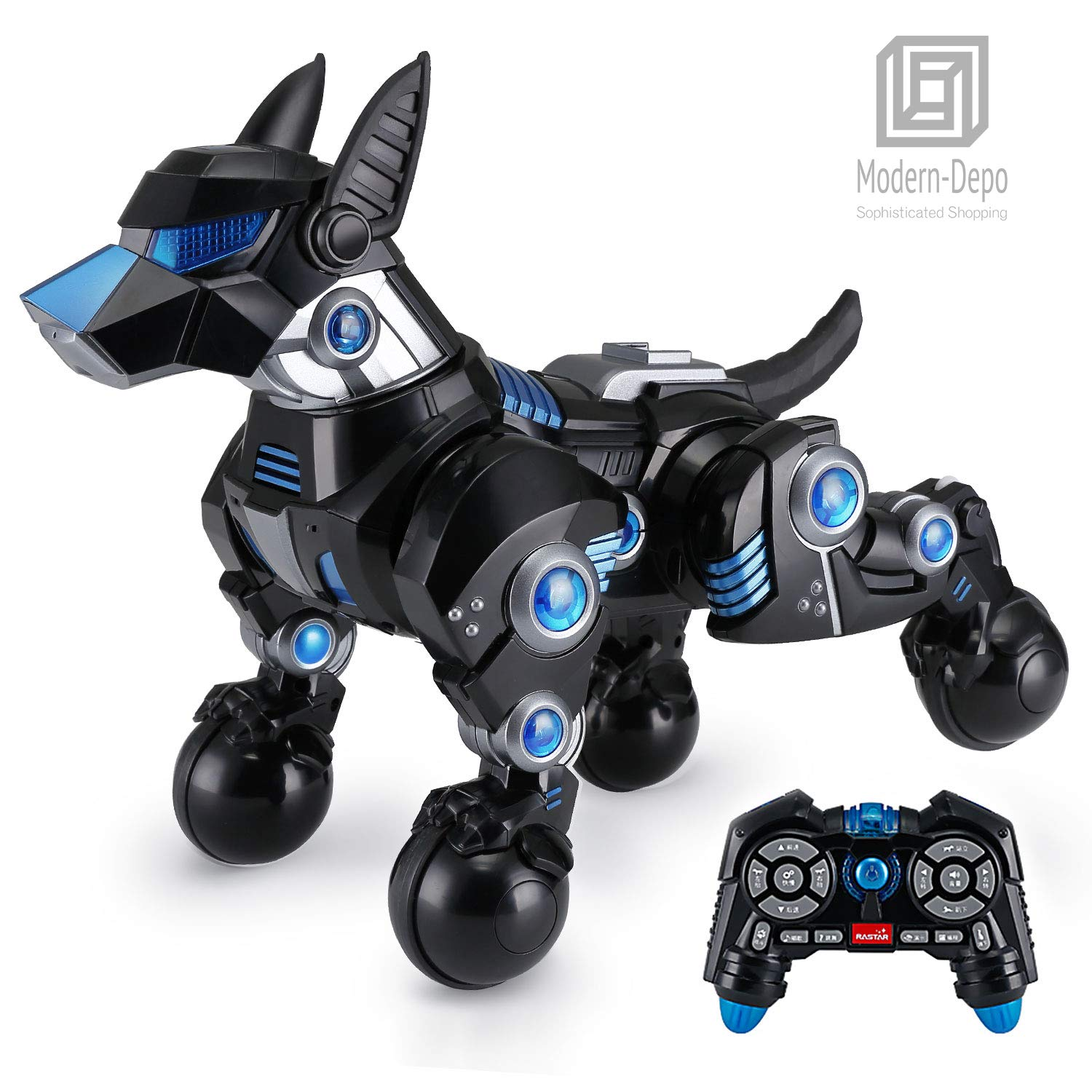 Modern-Depo Rastar Intelligent Robot Dog with Remote Control for Kids, USB Charging, Dancing Demo - Black by Modern-Depo (Image #1)