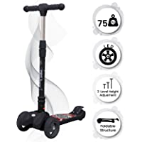 R for Rabbit Road Runner Scooter for Kids Smart Kick Scooter, 3 Adjustable Height, Foldable, LED PU Wheels & Weight Capacity 75 kgs 3 to 14 Years (Black)