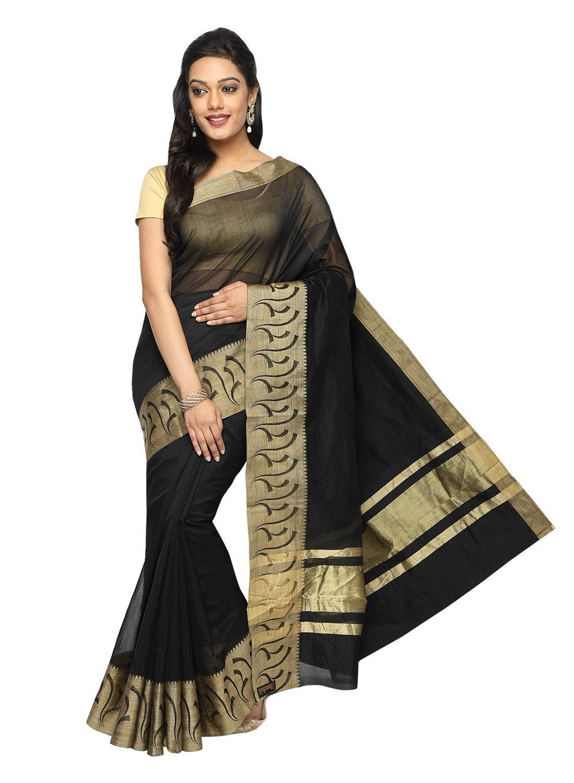 Pavecha's Women's Banarasi Silk Cotton Blend Zari Casual Saree Free Size Black
