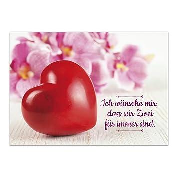Gluckwunschkarte Thema Liebe Rotes Herz Mit Blumen Und Spruch