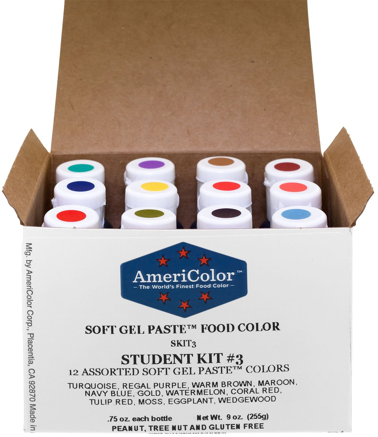 Food Coloring AmeriColor Student - Kit 3 12 .75 Ounce Bottles Soft Gel Paste Colors