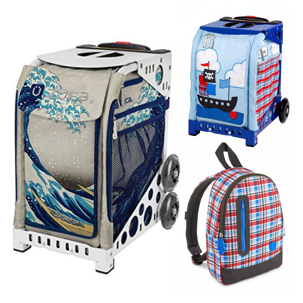 Zuca Great Wave Insert Bag in White Frame (Full-Sized Sport) with Mini Pirate Bag for Kids and Explorer Backpack