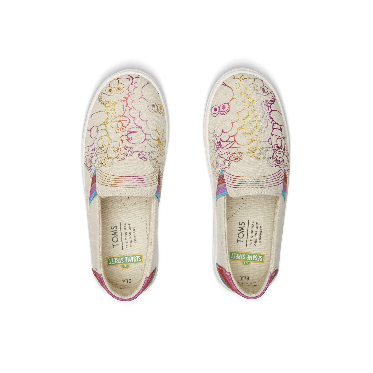 TOMS Sesame Street X Foil Printed Canvas Youth Luca Slip-Ons 10013644 (Size: 6) by TOMS (Image #3)