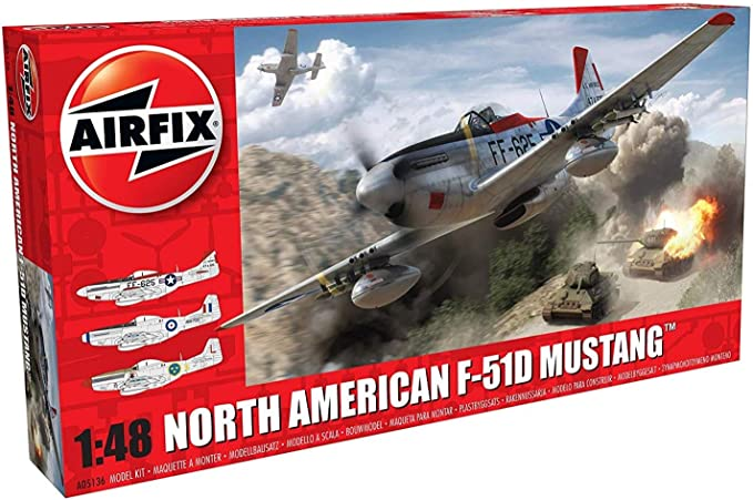 Amazon.com: Airfix North American F-51D Mustang 1:48 Military ...