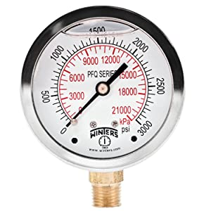 Winters PFQ Series Stainless Steel 304 Dual Scale Liquid Filled Pressure Gauge with Brass Internals, 0-3000 psi/kpa,2-1/2