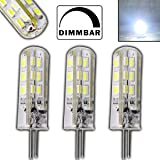 Pack of 3 G4 / GU4 High-Power LED Spotlight Bulbs 1.56 W 24 SMD 12 V DC 125 Lumen 360° Illumination for Dimmer Switches Halogen-Shaped Pin Cap Cold White
