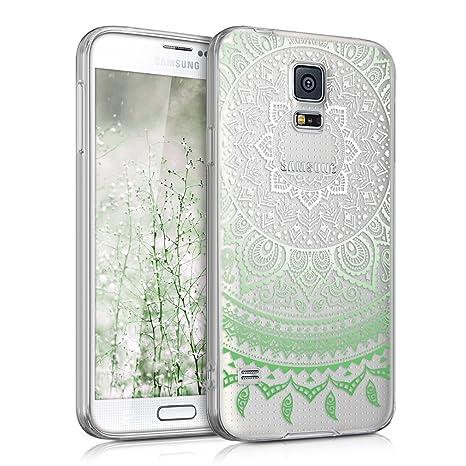 kwmobile Funda para Samsung Galaxy S5 / S5 Neo - Carcasa de [TPU] para móvil y diseño de Sol hindú en [Verde/Blanco/Transparente]