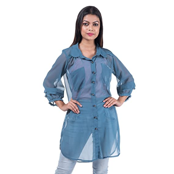 d4693e69251 mamosa Women s Gorgetter Western Transparent 3 4th Sleeve Wear Tunic (Grey